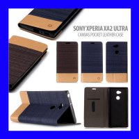 Sony Xperia XA2 Ultra - Canvas Pocket Leather Case Casing Cover