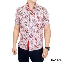 Male Slimfit Batik Short Sleeve Katun Pink – BAT 769