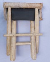 Mini Folding Chair Stool Teak Wood Goat Skin - Dominatly white by Enclave Craft
