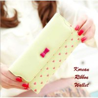 Korean Ribbon Wallet YELLOW (Dompet banyak sekat, Korean style)