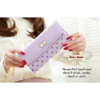 Korean Ribbon Wallet PURPLE (Dompet banyak sekat, Korean style)