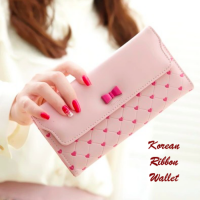 Korean Ribbon Wallet SOFTPINK (Dompet banyak sekat, Korean style)