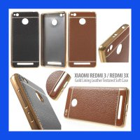 Xiaomi RedMi 3 - 3 Pro - 3X Gold Lining Leather Textured Soft Case Casing Cover