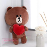Boneka Hadiah Special Valentine Line Friends Brown Heart Love Doll