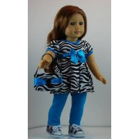 [poledit] Doll Clothes Shop Aqua and Zebra Pants Outfit includes Zebra Stripe Sneakers and/12246474