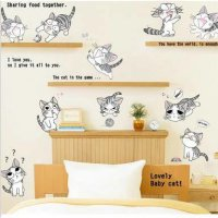 wallsticker/wall stiker transparan 50x70-am7028-cute cat