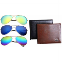 [1+1] Men Bifold Business Leather Wallet and Unisex Vintage Retro Aviator Sunglasses [FREE ONGKIR]