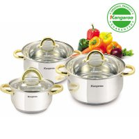 [Kangaroo] KG-864 3Pcs Panci Set Stainless Steel