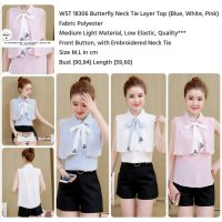 Butterfly Neck Tie Layer Top (BLUE,WHITE,PINK) M,L - 18306