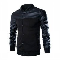 Baseball Jacket - Mens Black Coat Varsity