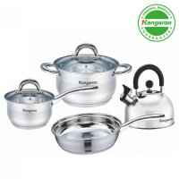 [Kangaroo] KG-998 4Pcs Panci Set Inox Stainless Steel