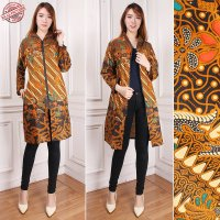Cj collection Blazer batik 2in1 dress maxi pendek atasan blouse long tunik kemeja wanita jumbo shirt mini dress Zaira M-XL