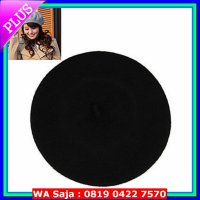 #Topi Wanita Kupluk Korean woman casual fashion warm pur color flatcap beret hat (Black)