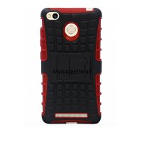 Robotic Case Series With Kick Stand For Xiaomi Redmi 3 / Redmi 3s / 3 Pro / 3 Prime - Merah