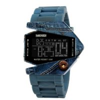 Skmei 0817BM Airplane Digital LED Watch Blue Jeans - Jam Tangan Unisex