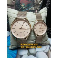 Jam Tangan Couple Alexandre Christie 8522 Gold Original