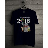 Kaos T Shirt Unisex Ultra Soft Biru Navy Asian Games 2018 Jakarta Palembang Z7173