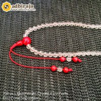 108 pcs Mala White Crystal 8 mm with Red Coral Separator