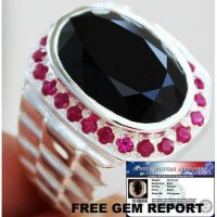 CINCIN PRIA NATURAL 6.75 ct BLACK SPINEL & RUBY REAL PERAK 925 Sz.10