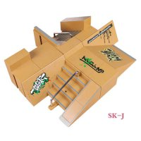 [globalbuy] SK-J 8 Pcs Multi-style Combination Finger Skateboard Park Ramp & Fingerboard P/2684299