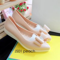 Sepatu Jelly ribbon platform lancip JS01 / jelly shoes