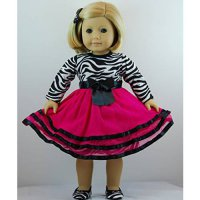 [poledit] Doll Clothes Shop Fantastic 3 pc Zebra Stripe Dress Outfit includes Shoes and is/12240503