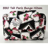 BBO Tab Paris Rose Hitam (Bank Book Organizer bisa Tab 7' Sling Bag Motif)