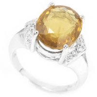 NATURAL COGNAC QUARTZ & WHITE CZ STERLING 925 SILVER RING 6.5
