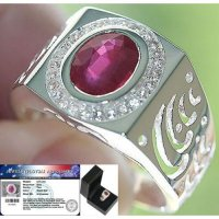 Cincin 4.75 cts BLOOD RED RUBY & WHITE TOPAZ SOLID Perak 925 Sz.11