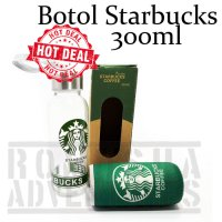 Romusha Starbuck Coffee Bottle 300ml & Cover Botol Kaca