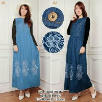 Maxy Dress Jeans Aryani Bordir Gamis ma