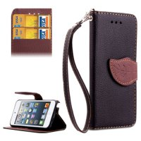 Ss4802 - Leaf Horizontal Flip Leather Case Ipod Touch 5 / 6 Black