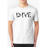 T-shirt DIVE with scuba divers making the word - white