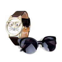 [1+1] Cute Glasses Cat Women Analog Quartz Dial Wrist Watch and Fashion Vintage Sunglasses Retro Cat