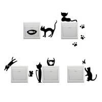 [globalbuy] 1 Set of 5pcs Removable Cute Black Cat Switch Wall Sticker Vinyl Decal Home De/4491815