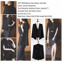 Black Cape Blazer with Belt (M,L,XL) - 19056