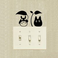 [globalbuy] Chu Totoro Decoration Switch Stickers Funny Cartoon Cat Wall Decal 2SS0264/4629216