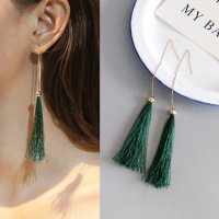 RFSDES974 Retro Long Chain Tassel Earrings Green Tassel