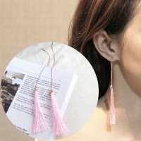 RFSDES976 Retro Long Chain Tassel Earrings Pink Tassel