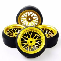 [globalbuy] 1/10 On-Road RC Car Model Toys Accessory 4pcs Set Drift Tires & Wheel Rim BBG+/4448179