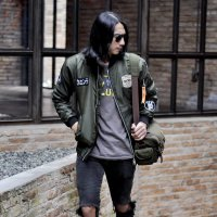 Jaket bomber pria kent full patch hijau green army original
