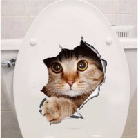 [globalbuy] Hole View Vivid Cats 3D Wall Sticker Bathroom Toilet Living Room Decoration An/4629463