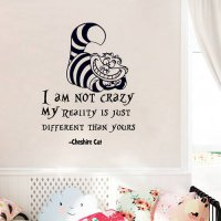 [globalbuy] Alice In Wonderland Wall Sticker Cheshire Cat Quotes I Am Not Crazy Vinyl Deca/4489783