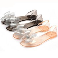 Female Plastic Beach Shoes Jelly color Bowknot Flat Casual Sandals