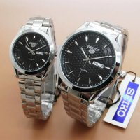 Jam Seiko 5 Day Date Couple Silver Black