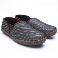 Dr.Kevin Mens Casual Slip On Shoes Canvas 13261 Silver/Brown