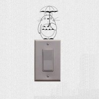 [globalbuy] Totoro With Umbrella Decoration Wall Decal Lovely Cartoon Cat Switch Stickers /4626105