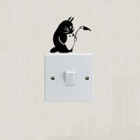 [globalbuy] Totoro Animal Switch Sticker Lovely Funny Cartoon Cat Decal Wall Stickers 2SS0/4625919