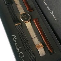 Jam Tangan Alexandre Christie Ac-8566 Full Set Rosegold Black Original