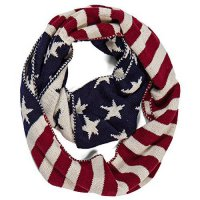 [macyskorea] Aoloshow Classic Red White and Blue American Us Flag Infinity Knit Scarf/7066578